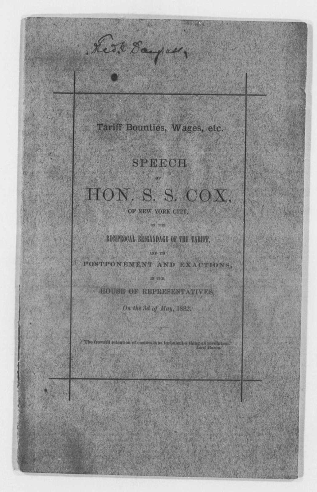 Cox, S. S. - Folder 3 of 4