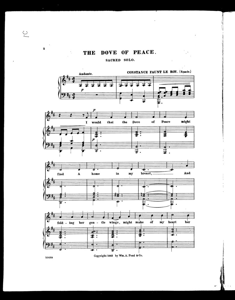 Dove of peace, The; Sacred solo