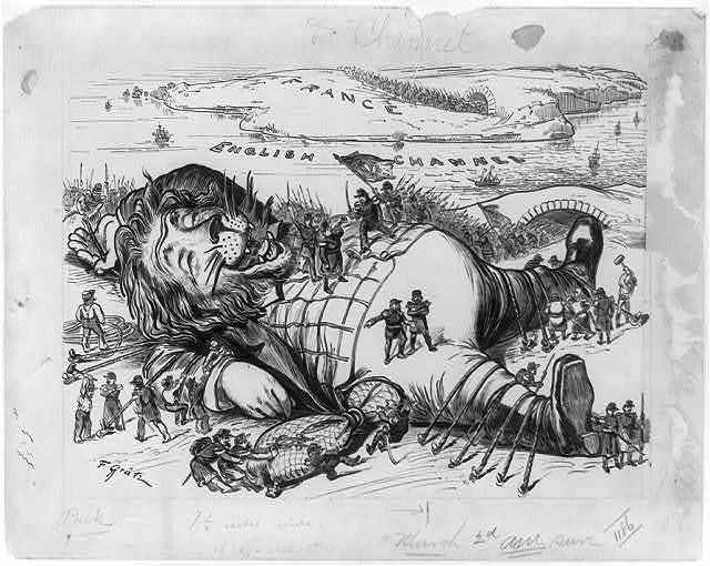 [England's nightmare.  The Great Britain Gulliver overpowered and made helpless by French pygmies while asleep]