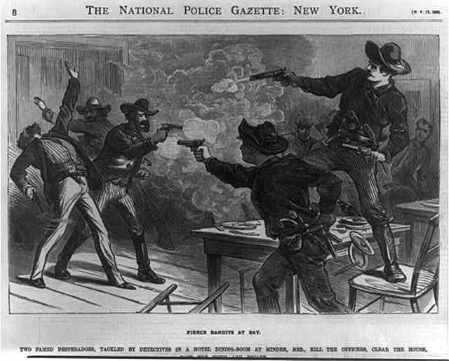 Fierce bandits at bay. Two famed desperadoes, tackled by detectives in a hotel dining-room at Minden, Neb., ...