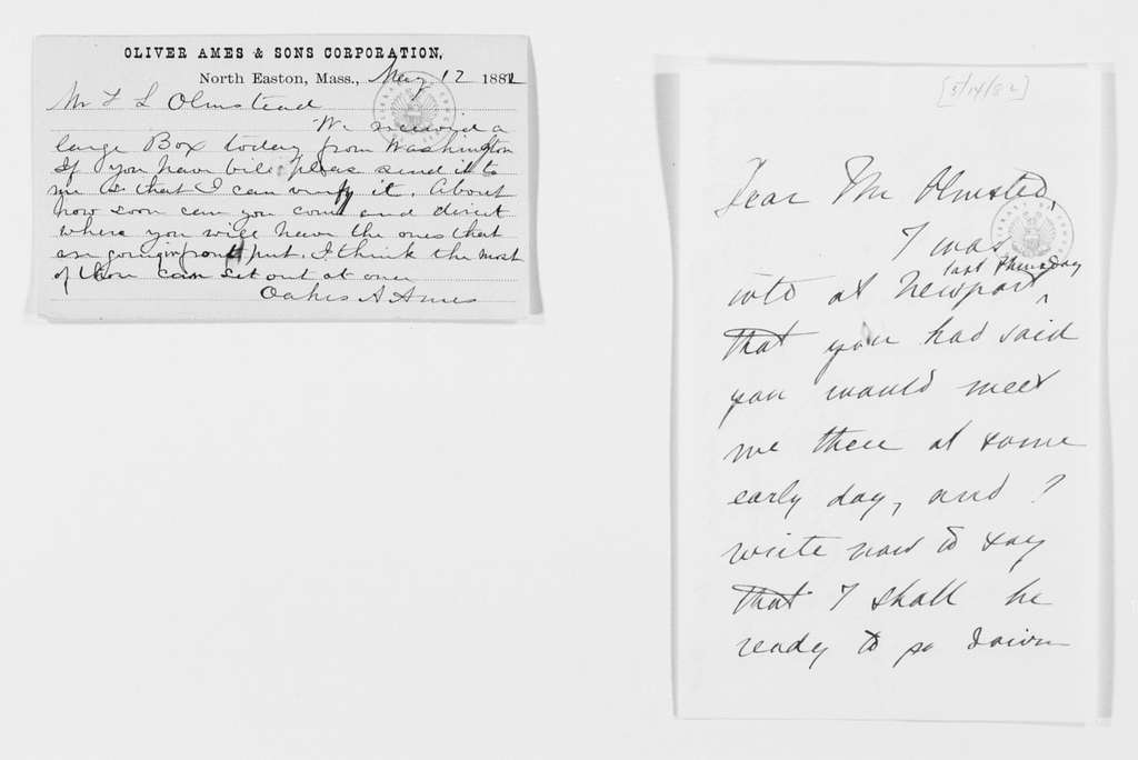 Frederick Law Olmsted Papers: Correspondence, 1838-1928; General Correspondence, 1838-1928; 1882, Apr.-May