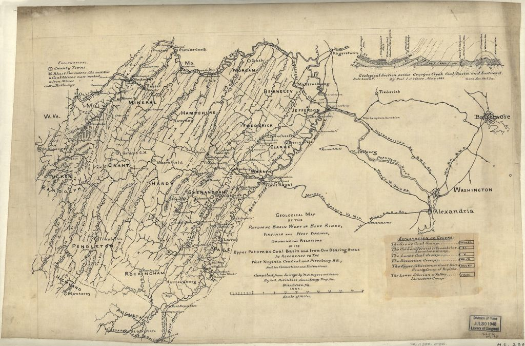 Geological map of the Potomac basin west of Blue Ridge, Virginia and West Virginia : showing the relations of its upper Potomac coal basin and the iron-ore bearing areas in reference to the West Virginia Central and Pittsburg [sic] R.R., and its connections and extensions /