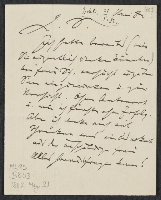 [Letter, 1882 May] 21, Ischl [to] S. [Simrock]