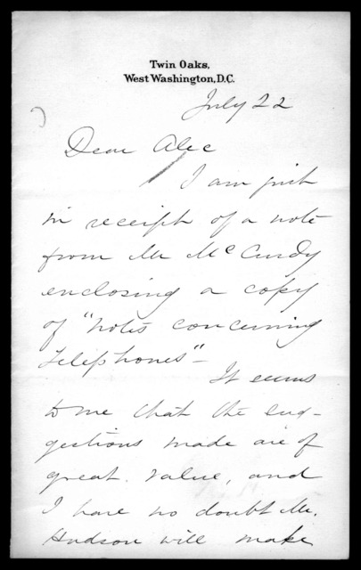 Letter from Gardiner Greene Hubbard to Alexander Graham Bell, July 22