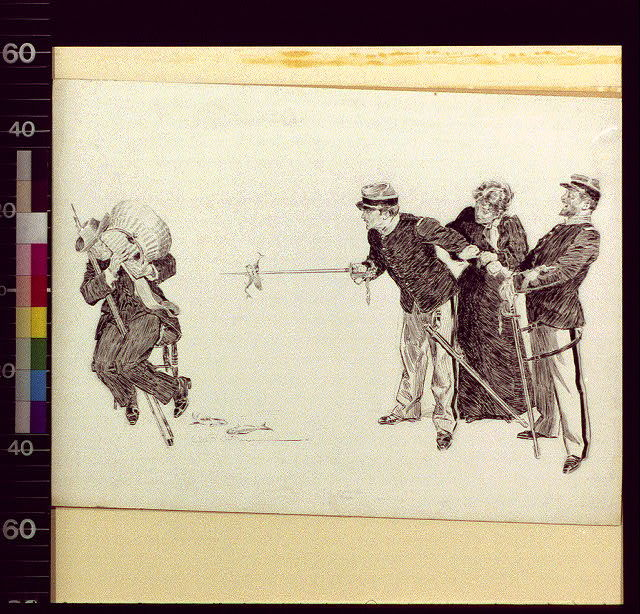 [Man with fishing pole and basket looking at two soldiers, woman]