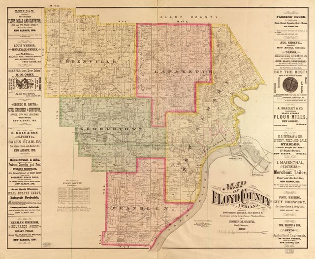 Map of Floyd County, Indiana : showing townships, ranges, sections & farm lines with the owners names and number of acres /