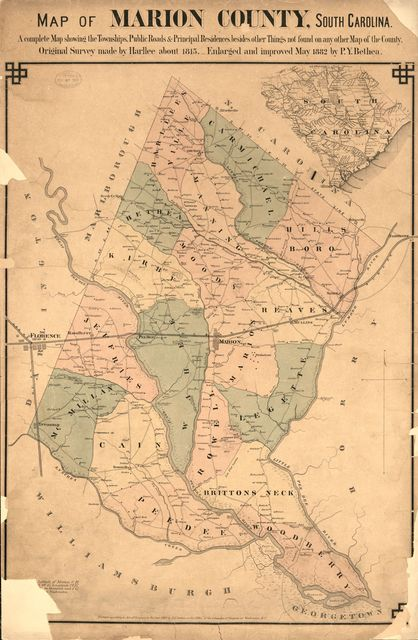 Map of Marion County, South Carolina : a complete map showing the townships, public roads & principle residences, besides other things not found on any other map of the county /