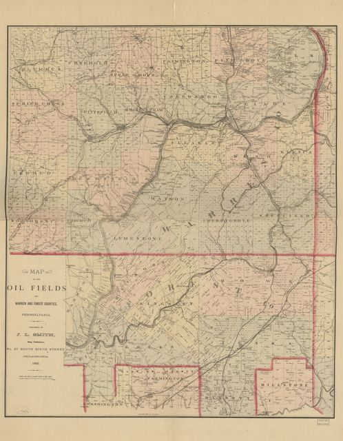 Map of the oil fields of Warren and Forest counties, Pennsylvania.