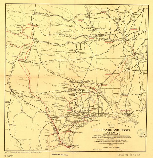 Map of the Rio Grande and Pecos Railway showing its connections with the Texas Mexican, Texas Mexican Short Line, Mexican National, Texas & St. Louis, and Denver & Rio Grande Narrow Gauge systems and also the International & Great Northern, Mexican Oriental Interoceanic & International, New York, Texas & Mexican and International & Mex. Standard Gauge roads.
