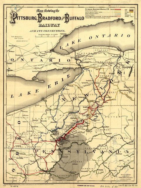 Map showing the Pittsburg [sic], Bradford, and Buffalo Railway and its connections, W. R. Bergholz, chief engineer, New York, Feb. 15, 1882.