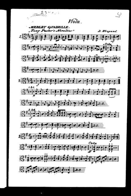 Medley quadrille; Tony Pastor's novelties