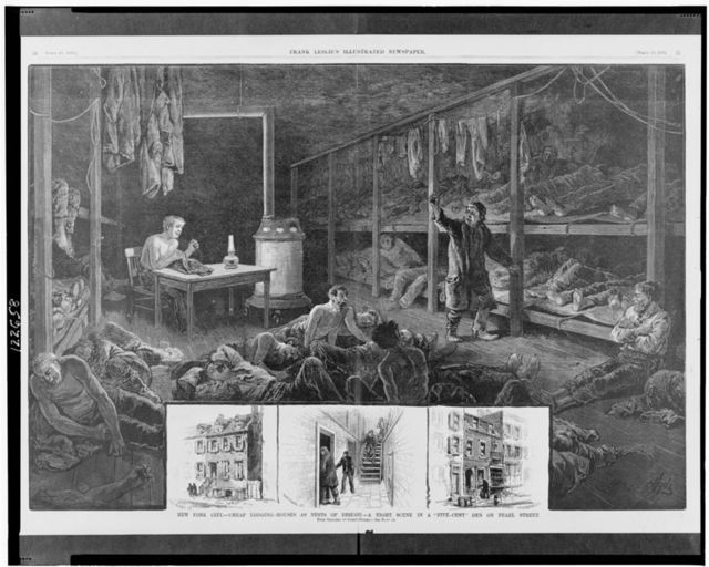 """New York City - Cheap lodging-houses as nests of disease -A night scene in a """"five-cent"""" den on Pearl Street / Hyde ; from sketches by Joseph Becker."""