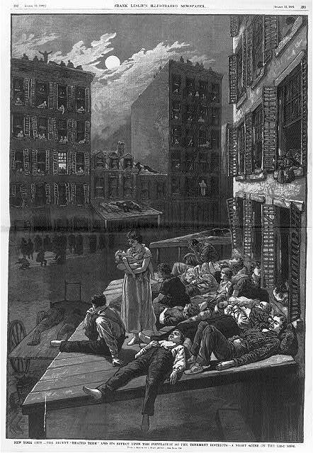 """New York City - The recent """"heated term"""" and its effect upon the population of the tenement districts A night scene on the East Side / / from sketch by a staff artist."""