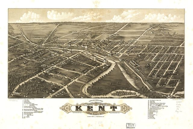 Panoramic view of the city of Kent, Portage County, Ohio 1882.