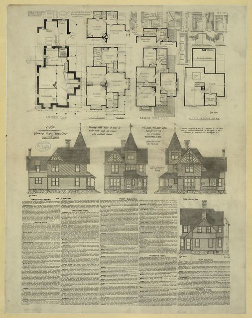 Plans of modern eight room cottage with tower