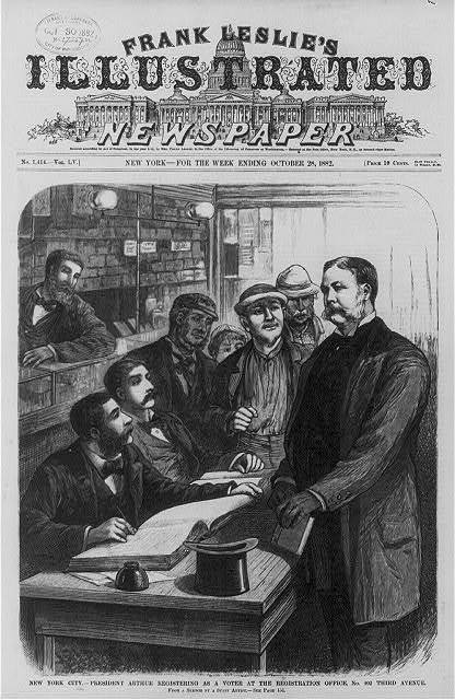 President Arthur registering as a voter at the Registration Office, No. 402 Third Avenue, New York City