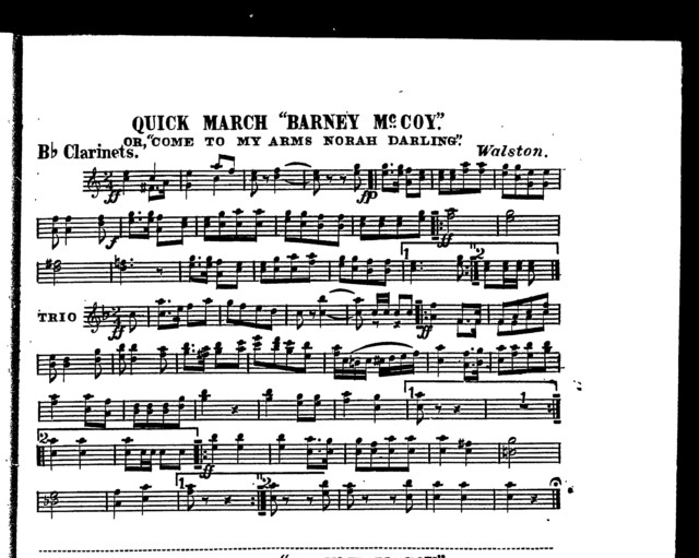 """Quick march """"Barney McCoy""""; Or, Come to my arms Norah darling"""