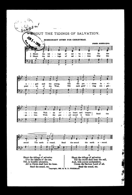 Shout the tidings of salvation; Missionary hymn for Christmas
