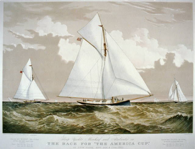 """Sloop yachts Mischief and Atalanta in the race for """"The America Cup"""""""