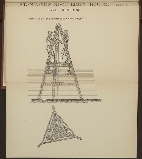 Stannard's Rock light house, Lake Superior; Method of drilling for range posts and ringbolts