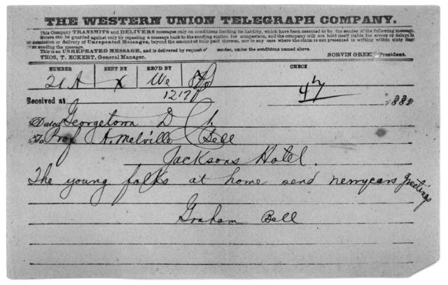 Telegram from Alexander Graham Bell to Alexander Melville Bell, 1882