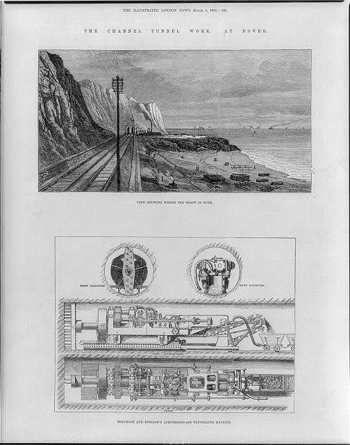 The Channel Tunnel Work at Dover [England]: view showing where the shaft is sunk & Beaumont & English's compressed-air tunneling machine