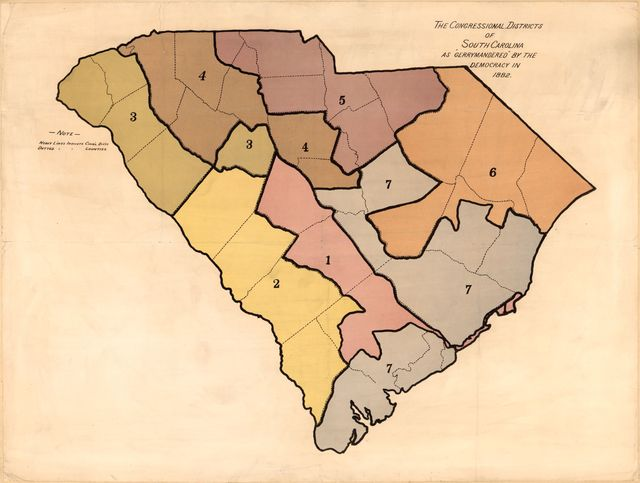"The Congressional Districts of South Carolina as ""Gerrymandered"" by the Democracy in 1882."