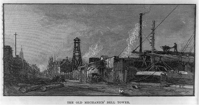 "The Old Mechanic's Bell tower [erected by shipwrights about 1800 at Goerck and Stanton streets near the East River, N.Y.C. The tolling of the bell marked the end of a ten-hour day, an act of protest against the employers' practice of compelling artisans to work from ""dark to dark""]"