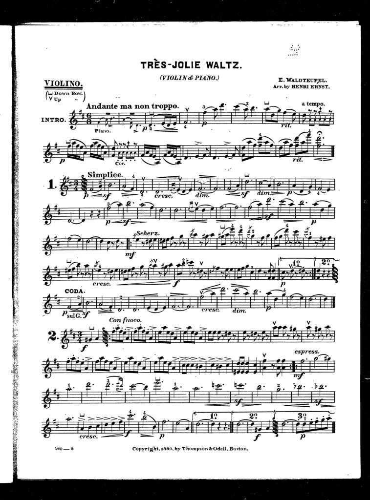 Trs̈ jolie waltz [cornet, violin]