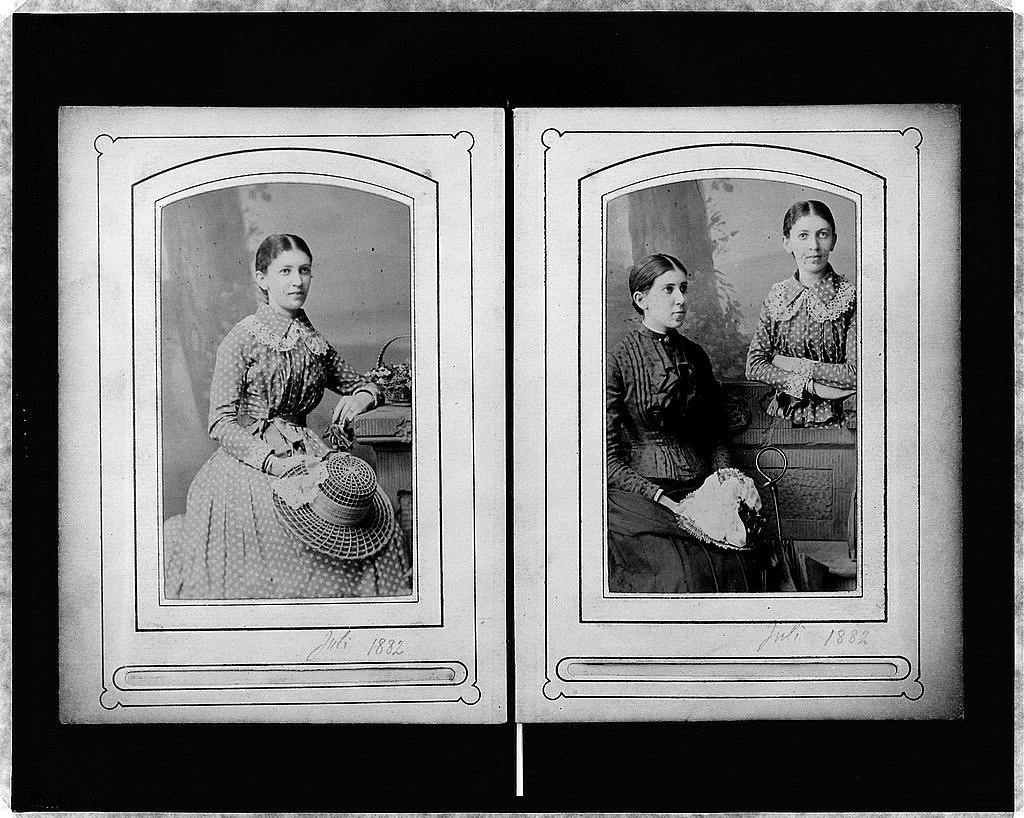 Two Portraits On Cartes De Visite Martha Freud Three Quarter Length Portrait Seated Facing Right Holding Hat Her Lap And Half Standing