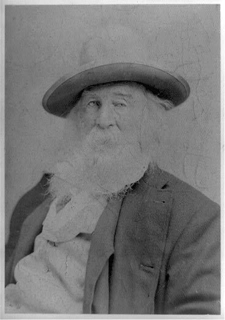 [Walt Whitman, half-length portrait, facing left, wearing hat]