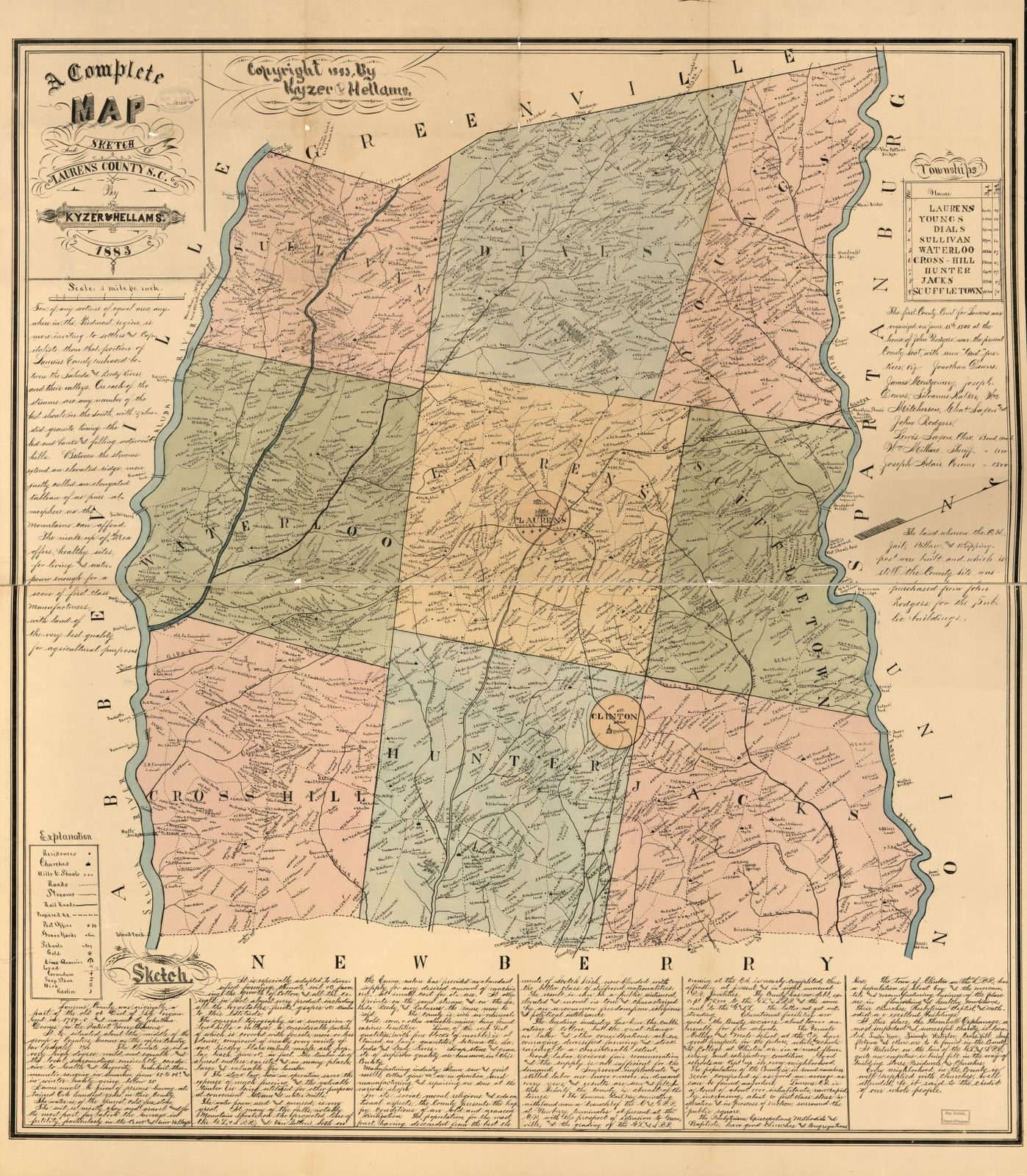 A complete map and sketch of Laurens County, S.C. /