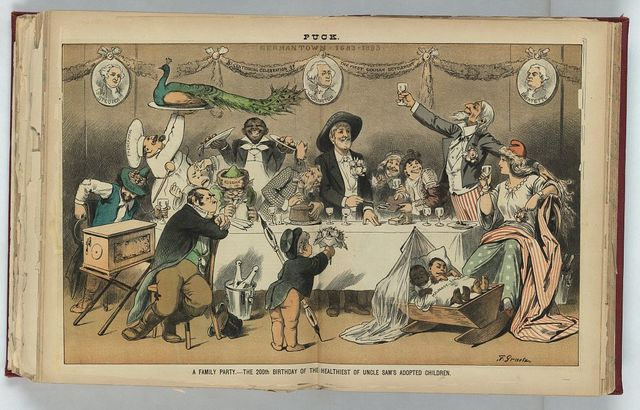 A family party - the 200th birthday of the healthiest of Uncle Sam's adopted children / F. Graetz.