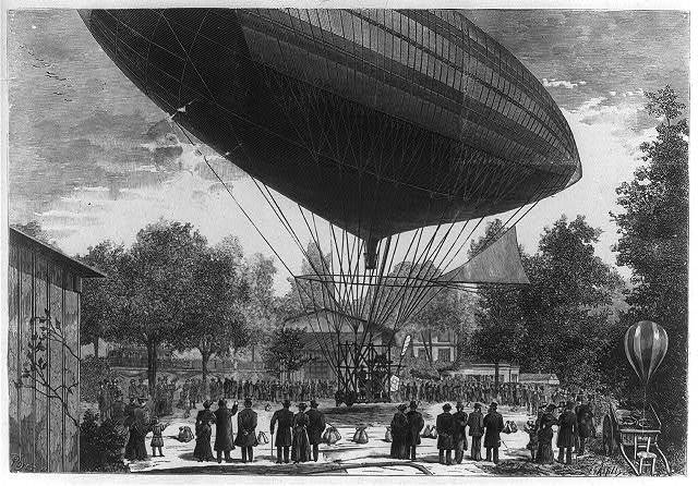 [Airship powered by an electric motor developed by Albert and Gaston Tissandier departing from Auteuil, Paris, France, October 8, 1883] / Poyet, del ; E. A. Tilly.
