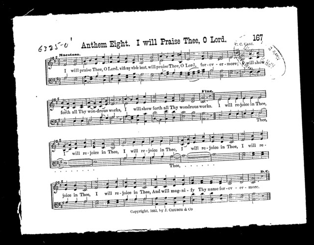 Anthem eight; I will prasie thee, O Lord