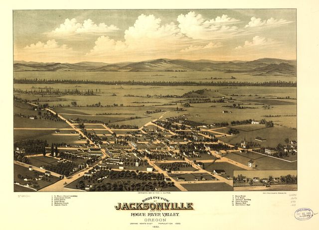 Bird's eye view of Jacksonville and the Rogue River Valley, Oregon 1883.