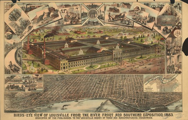 Birds-eye view of Louisville from the river front and Southern Exposition, 1883.