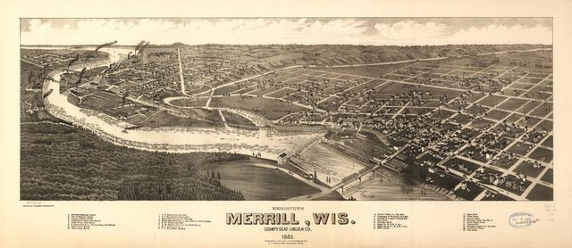 Bird's eye view of Merrill, Wis. county seat Lincoln Co. 1883.