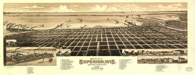 Bird's eye view of Superior, Wis. county seat of Douglas county 1883.