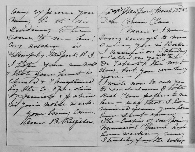 Clara Barton Papers: Family Papers: Bigelow, Anna Barton and Lucy Barton (cousins), 1883-1903