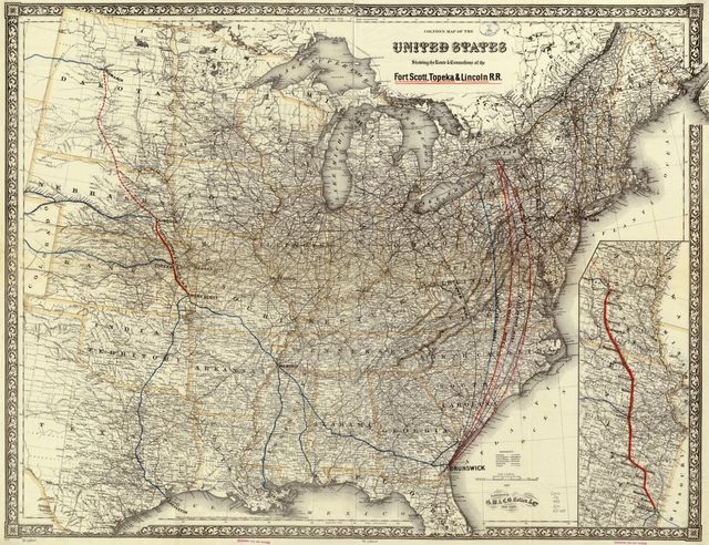 Colton's map of the United States showing the route & connections of the Fort Scott, Topeka & Lincoln R.R.