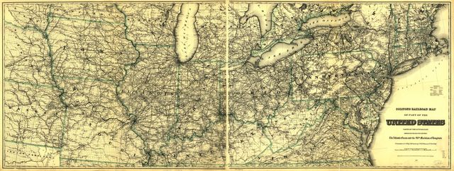 Coltons railroad map of part of the United States north of the 37th parallel embracing the country between the Atlantic Ocean and the 96th Meridian of longitude.