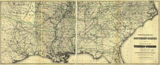 Colton's railroad map of part of the United States south of the 37th parallel embracing the country between the Atlantic Ocean and the 96th meridian of longitude.
