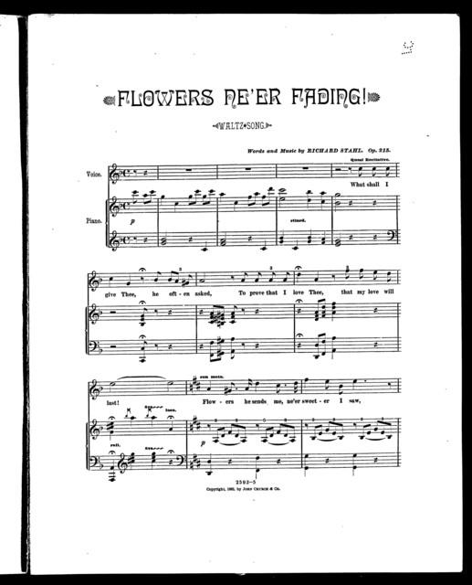 Flowers ne'er fading! Waltz song