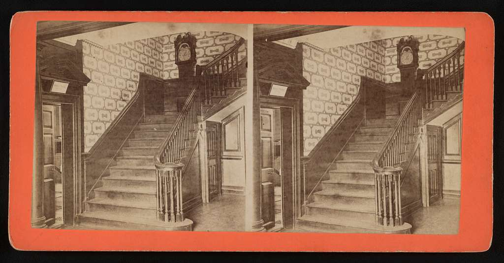 Hall and stairway, Mt. Vernon Mansion, showing clock at head of stairs