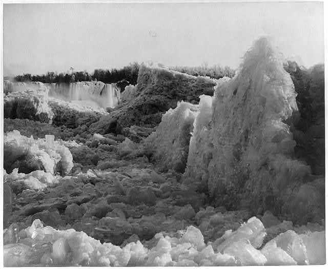 [Ice bridge, Niagara Falls, American Falls in distance]