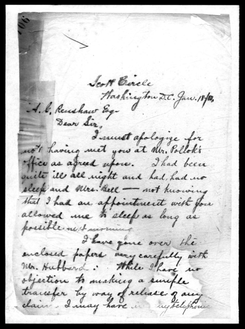 Letter from Alexander Graham Bell to A. G. Renshaw, January 18, 1883