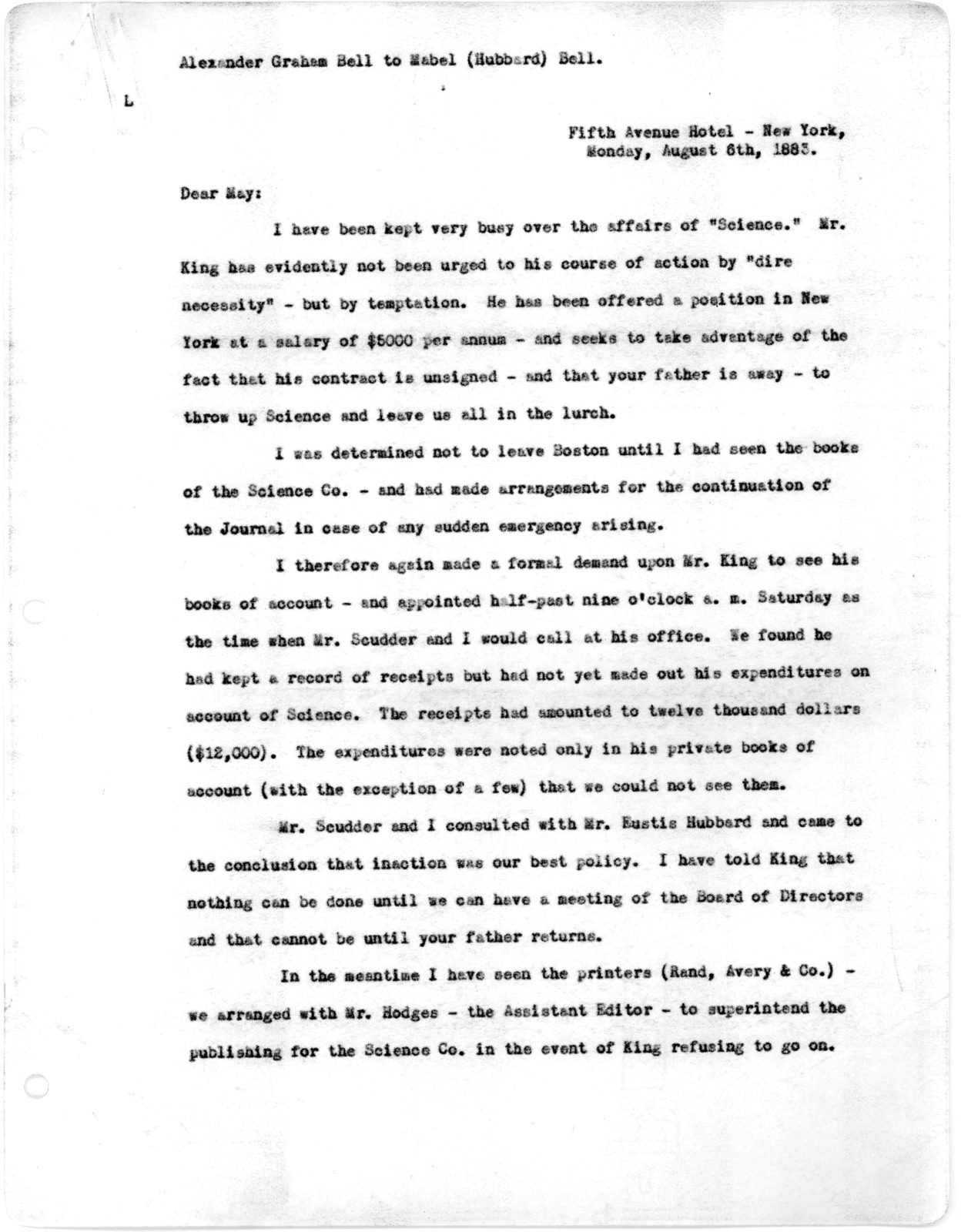 Letter from Alexander Graham Bell to Mabel Hubbard Bell, August 6, 1883