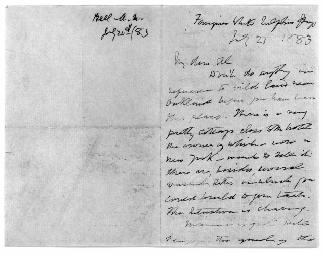 Letter from Alexander Melville Bell to Alexander Graham Bell, July 21, 1883