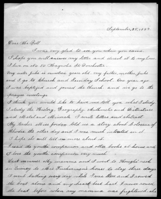 Letter from Lottie F. Bailey to Alexander Graham Bell, September 25, 1883